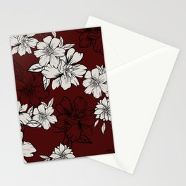 Red lisianthus Stationery Cards