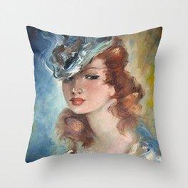 Belle Jeune Femme à Paris, female portrait painting Throw Pillow