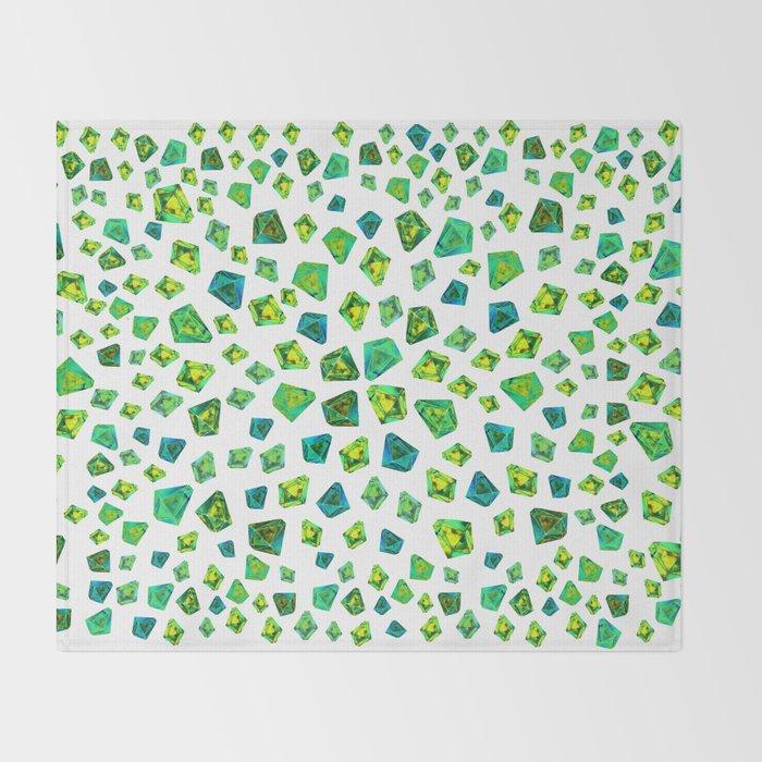 Green beautiful hand drawn gems. Throw Blanket