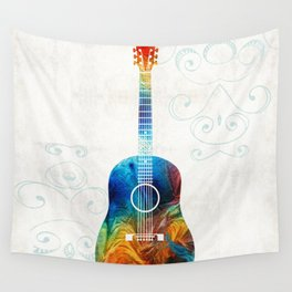Colorful Guitar Art by Sharon Cummings Wall Tapestry