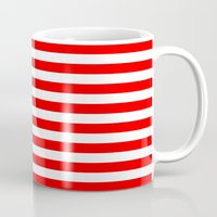 stripes Mugs featuring Horizontal Stripes (Red/White) by 10813 Apparel