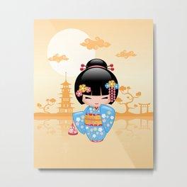 Japanese Maiko Kokeshi Doll Metal Print