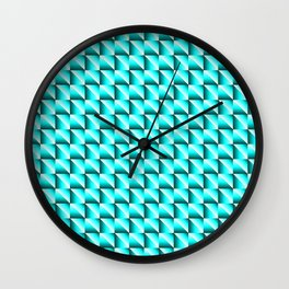 Pattern of bright squares and sky rhombuses with diagonal blue triangles. Wall Clock