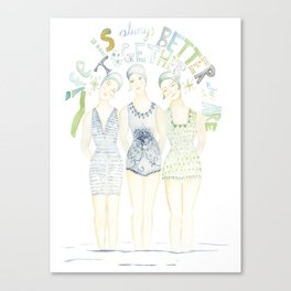 "Beach art, ""trio"", soul sisters, blue and green coastal Canvas Print"