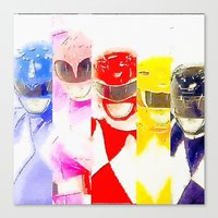 power rangers Canvas Prints featuring Power Rangers by americanmikey