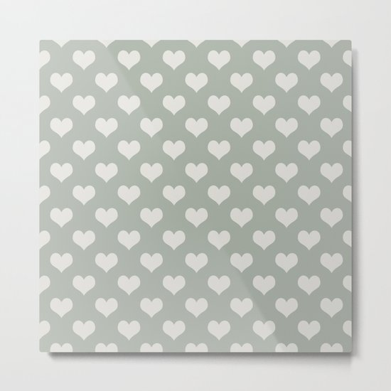 Gray Grey Hearts Metal Print