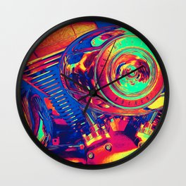 Colorful Motorcycle Engine Wall Clock