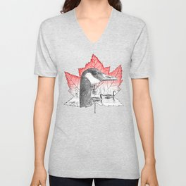 Canada Goose on Maple Leaf (with some red) Unisex V-Neck