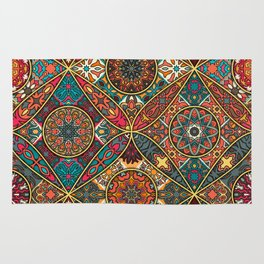 Vintage patchwork with floral mandala elements Rug