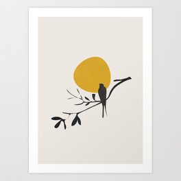 Bird and the Setting Sun Art Print