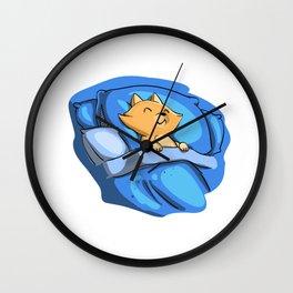 Sleeping cat - cat cartoon Wall Clock