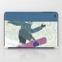 snowboarding iPad Cases featuring Snowboarding by Aquamarine Studio