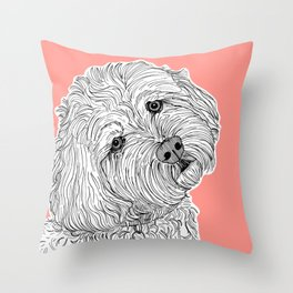 Cockapoo Dog Portrait ( coral background ) Throw Pillow