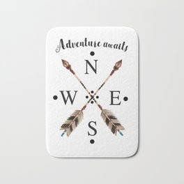Cardinal directions Compass Arrows Adventure awaits Typography Bath Mat
