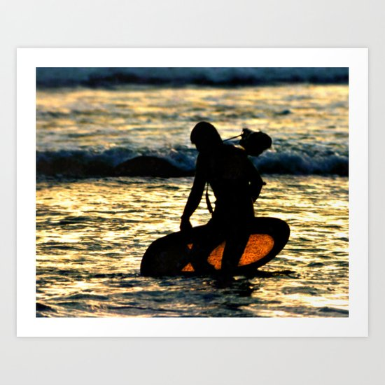 Greenough going out to film at sunset Art Print