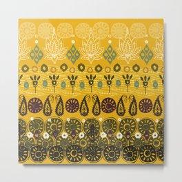lotus block vintage gold Metal Print