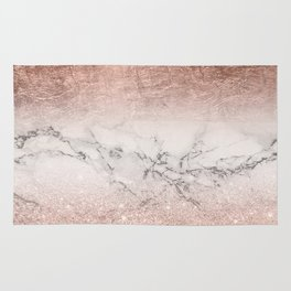Modern faux rose gold glitter and foil ombre gradient on white marble color block Rug