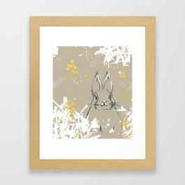 Bunny Portrait M+M Latte by Friztin Framed Art Print