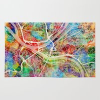 pittsburgh Area & Throw Rugs featuring Pittsburgh Pennsylvania Street Map by artPause