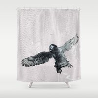 puffin Shower Curtains featuring Soar the puffin by Cary Polkovitz