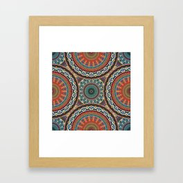 Colorful abstract ethnic floral mandala pattern Framed Art Print