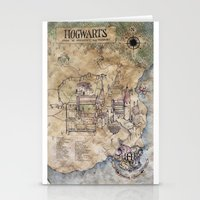 hogwarts Stationery Cards featuring Hogwarts Map by Sarah Ridings