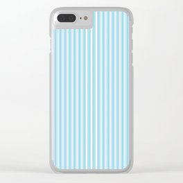 Classic Small Blue Sky Pastel Blue French Mattress Ticking Double Stripes Clear iPhone Case