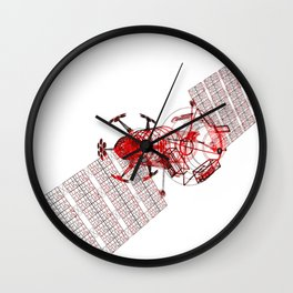 Explorer Schematic Red on White Wall Clock