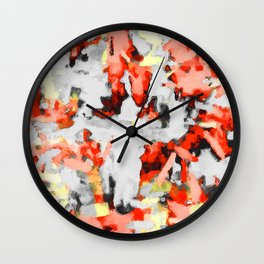 splash painting texture abstract background in red pink yellow black Wall Clock