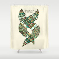feathers Shower Curtains featuring Soulmate Feathers by Pom Graphic Design