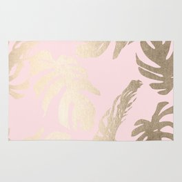 Simply Tropical Palm Leaves White Gold Sands on Flamingo Pink Rug