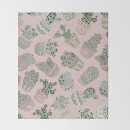 Blush pink mint green rose gold cactus floral Throw Blanket