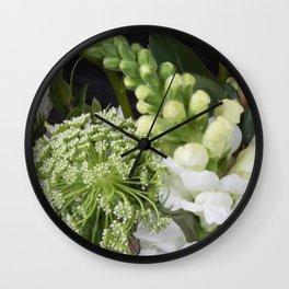 White Wildflowers Wall Clock