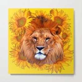 YELLOW TAWNY AFRICAN LION & GOLDEN SUNFLOWERS Metal Print