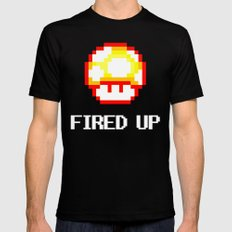 FIRED UP Mens Fitted Tee MEDIUM Black