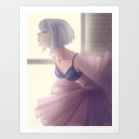 ballerina Art Prints featuring Ballerina by Renee Chio