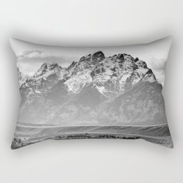Grand Teton Black & White Wyoming National Park Mountain Landscape Rectangular Pillow
