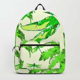 TROPICAL FERNS & EMERALD GREEN  SWAMP DRAGONFLIES Backpack