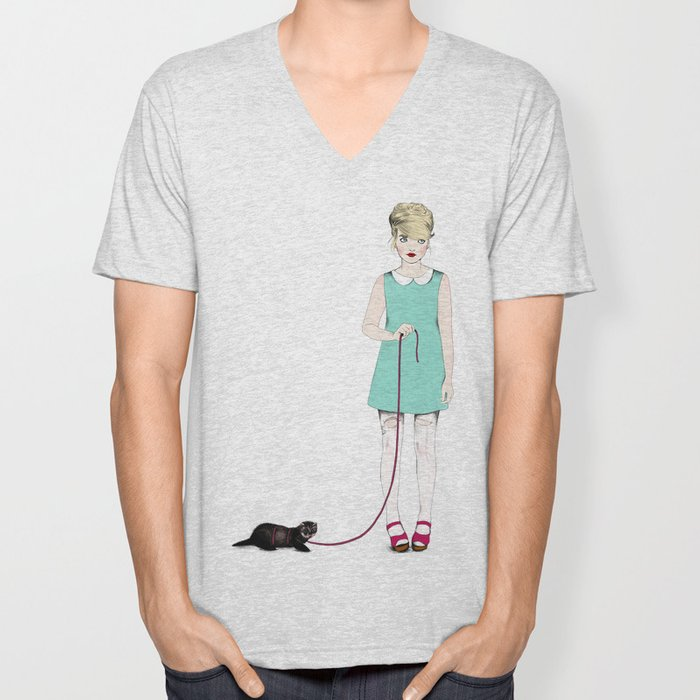 The girl with the ferret Unisex V-Neck