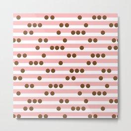 Spotty Stripe Coral Pink & Brown Metal Print