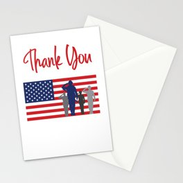 Thank You For Your Service Patriotic Veteran Stationery Cards