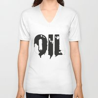 oil V-neck T-shirts featuring Oil by UP studio