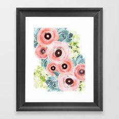 Ranunculus, Hydrangeas, Succulents Framed Art Print