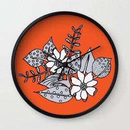 Orangey Gray Floral Wall Clock
