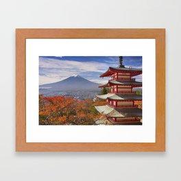 Chureito pagoda and Mount Fuji, Japan in autumn Framed Art Print