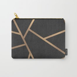 Dark Grey and Gold Textured Fragments - Geometric Design Carry-All Pouch