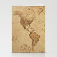 vintage map Stationery Cards featuring VINTAGE MAP by Oksana Smith