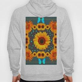 Blue Butterflies Golden Sunflowers Teal Art Hoody