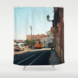 Lisbon yellow tram, Portugal Analog 6x6 Kodal Ektar 100 (RR 167) Shower Curtain