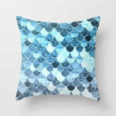 REALLY MERMAID SILVER BLUE Throw Pillow